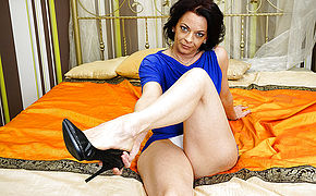 Nasty Housewife Stroking On Her Bed