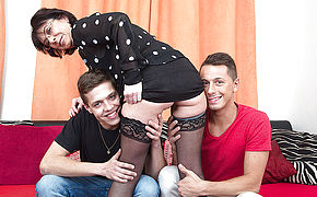 Naughty Mature Super-bitch Sucking And Smashing Two Men At Once