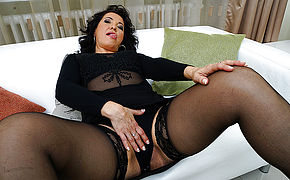 Horny Mature Super-bitch Frolicking On The Couch