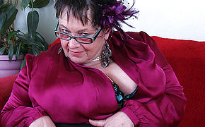 Enormous Breasted Brit Mature Plumper Toying All By Herself