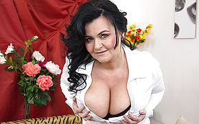 Gigantic Boobed Mature Gal Frolicking With Herself