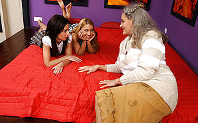 Two Molten Girl-on-girl Honeys Share One Mature Insatiable Whore
