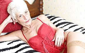 Crazy British Mature Girl Playing Alone