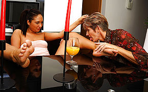 Horny Elderly And Young Lesbians Making Out