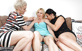 Three Kinky Housewives Having Fun In Couch