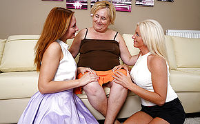 Trio Older And Young Lesbos Make Out And Then Some