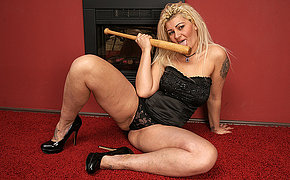 Sloppy Tramp Fucks Her Baseball Stick