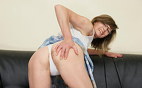 Aged Damsel Riding A Faux Man Sausage On Her Sofa
