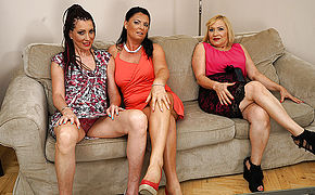 3 Kinky Housewives Fooling Around On The Couch