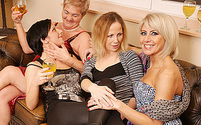 Four Mature And Fresh Lesbians Fuck-a-thon On The Floor