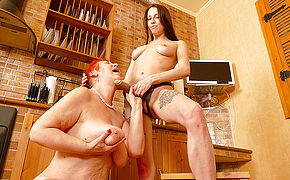 Hot Babe Fisting A Mature Lesbian In The Kitchen