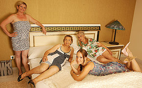 Four Mature And Inexperienced Lezzies Having A Hook-up Showcase