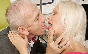 Wondrous Teenager Towheaded Licking And Penetrating Old Guy