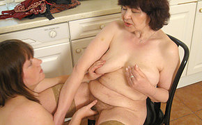 Big-chested Youthfull Teenager Boning Her Aged Lezzy Neighbour