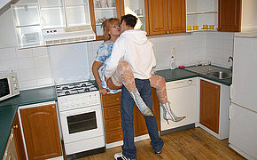 Steamy Wife Boinking In Her Kitchen