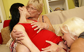 Preggie Young Babe Has Fuckfest With Two Elderly Damsels