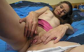 Kinky Granny Jacking On Her Bed