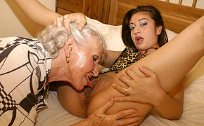 Let Elder Dame Mega-slut Slurp Your Young Puss Nicely