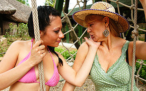 Playful Elderly And Teen Girly-girl Ladies Outdoor