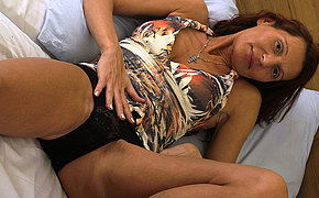 Awesome Mature Fingering Her Soaking Labia On Her Bed