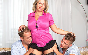 Huge-titted Mom Gives A Blowjob And Plows In A Groupsex