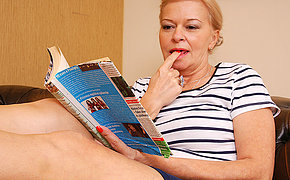 Lovable Mummy Fingering On Her Sheets