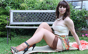 Unbelievable Brunette In Stocking Is Having Rest All Alone In The Backyard