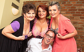 Awesomely Fortunate Guy With Glasses Is Surrounded By Extra Thick Saucy Bra-stuffers