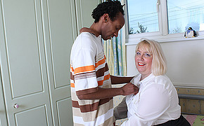 Round Light-haired Mummy Is Going To Be Boinked Rock Rigid By Youthful Ebony Lover