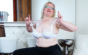 Chubby Mature Wearing White Lingerie Is Well-prepped To Show Her Fine Udders
