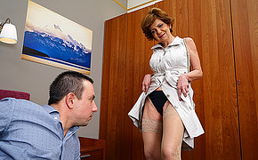 Crazy Old Damsel Is Demonstrating Her Lingerie And Stockings To The Youthful Lover