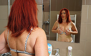 Mischievous Sandy-haired Mademoiselle Is Fondling Funbags In Front Of The Mirror