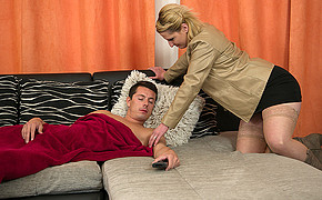The Boy Is Sleeping And The Red-hot Babe Is Going To Ride His Big Manstick