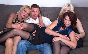Trio Huge-chested Madams Are Well-prepped To Have Red-hot Four Way With Fabulous Dude