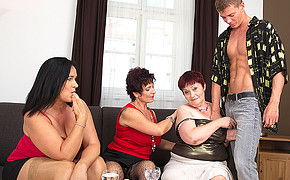 Three Chubby Lesbians Are Prepared To Share The Lucky Men Thick Trouser Snake