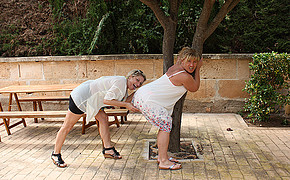 2 Super-naughty Lesbians Are Having Dirty Fun Under The Big Tree Outdoors